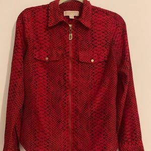 Michael Kors Zip Up Red Snakeskin Blouse Small